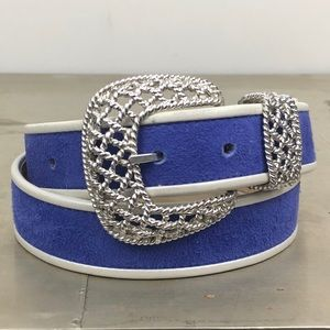 Carlisle Suede Leather Belt with Braided Buckle